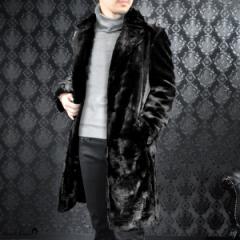 ファーコート フェイクファー メンズ ロングコート 無地 シングル 日本製 細身 トレンチコート(ブラック黒) 172757