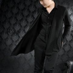 レイヤードシャツ デザインシャツ 長袖 ドレープ フェイクレイヤード メンズ ロング丈 変形 シンプル(ブラック黒) 118301