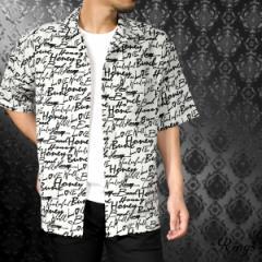開襟シャツ オープンシャツ ワイドシャツ 半袖 ロゴ メンズ オープンカラー 総柄(ホワイト白) 128082
