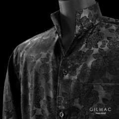 サテンシャツ ドレスシャツ 長袖 スキッパー 薔薇柄 メンズ ジャガード 無地 日本製 ゆったりサイズ(ブラック黒) 38950
