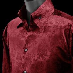サテンシャツ ドレスシャツ 長袖 スキッパー アラベスク柄 蝶 メンズ ジャガード 無地 日本製 ゆったりサイズ(ワイン赤レッド) 38951