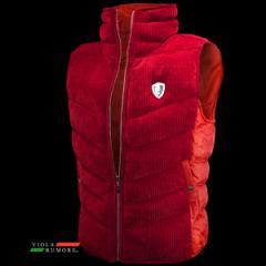 VIOLA rumore ヴィオラ ビオラ 中綿ベスト 迷彩ジャガード モールニット メンズ 切り替え 無地 フルジップ(レッド赤) 91103