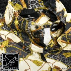 サテンシャツ ドレスシャツ スナップダウン メンズ ドゥエボットーニ チェーン柄 豹柄 ジャガード 日本製(ゴールド金ブラック黒) 181718