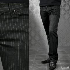 パンツ ピンストライプ ブーツカット メンズ 日本製 ストレッチ スリム ボトムス ロングパンツ(ブラック黒) 182753