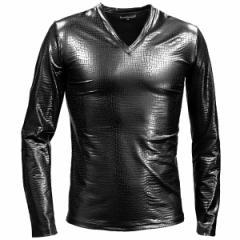 Tシャツ 長袖 ロンT クロコダイル メンズ Vネック 光沢 メタリック 日本製 mens(ブラック黒) 183711