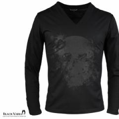 Tシャツ 長袖 Vネック スカル ドクロ 薔薇 花 ロンT メンズ(ブラック黒) zkk052ls