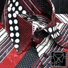 サテンシャツ ドレスシャツ メンズ ドゥエボットーニ ストライプ レギュラーカラー ジャガード 日本製(レッド赤ブラック黒) 181719