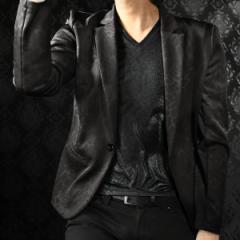 テーラードジャケット 豹柄 レオパード ムラ メンズ 日本製 1釦 mens(ブラック黒) 182700