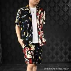 セットアップ 上下 オープンシャツ 半袖 ショートパンツ クレイジーパターン 羽根 メンズ アロハシャツ(ブラック黒ホワイト白) set6924