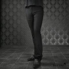 ロングパンツ ウィンドペン チェック柄 シューカット ブーツカット メンズ 日本製 シンプル スリム ボトムス mens(ブラック黒) 933763