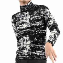 タートルネック 長袖 ムラ柄 メンズ 膨れジャガード ボリュームネック ストレッチ 日本製 mens(ホワイト白ブラック黒) 193220