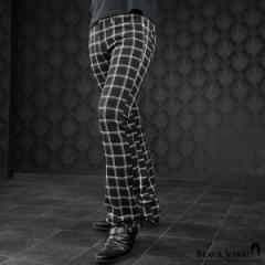 パンツ チェック シューカット ブーツカット 日本製 裏起毛 メンズ スリム ストレッチ ボトムス mens(ブラック黒ホワイト白) 933764