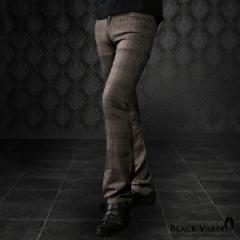 パンツ グレンチェック ブーツカット 日本製 チェック メンズ スリム ストレッチ シューカット ボトムス(ブラウン茶パープル紫) 933765