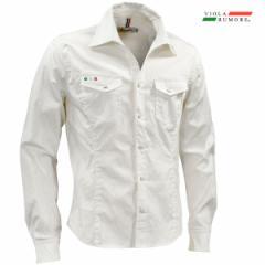 VIOLA rumore ヴィオラ ビオラ シャツ 長袖 メンズ ダイヤ柄ジャガード スキッパー mens(ホワイト白) 01112