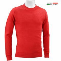 VIOLA rumore ヴィオラ ビオラ モックネック ニット メンズ ダイヤ柄ジャガード セーター mens(レッド赤) 01111