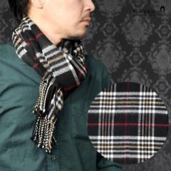 マフラー チェック柄 メンズ ビジネス アクリル ニット 日本製 チェックマフラー mens(ブラック黒タータンチェック) 5704