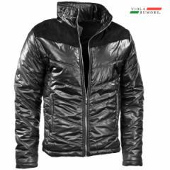 VIOLA rumore ヴィオラ ビオラ 中綿ジャケット スウェード 切り替え メンズ アウター フルジップジャケット mens(ブラック黒) 01144