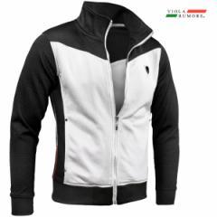 VIOLA rumore ヴィオラ ビオラ ジップアップジャケット メンズ スタンドカラー エンボス 長袖 スウェット(ブラック黒ホワイト白) 01204