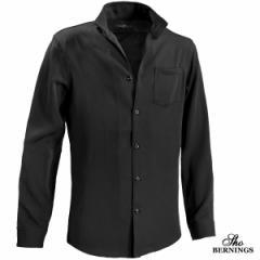 イタリアンカラーシャツ 長袖 スキッパー ピケストライプ メンズ 襟ワイヤー mens(ブラック黒) 247061