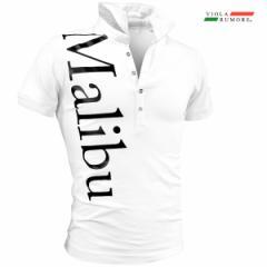 VIOLA rumore ヴィオラ ビオラ ポロシャツ 半袖 メンズ ストレッチ プリント ポロ スリム mens(ホワイト白ブラックロゴ) 01323