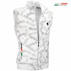 VIOLA rumore ヴィオラ ビオラ ベスト ジャガード フルジップアップ メンズ ロゴ柄 フルジップベスト mens(ホワイト白グレー灰) 01304