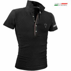 VIOLA rumore ヴィオラ ビオラ ポロシャツ 半袖 メンズ ジャガード 幾何学模様 ストレッチ スリム mens(ブラック黒) 01312