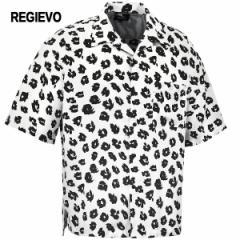 オープンシャツ 半袖 開襟シャツ レオパード柄 ヒョウ柄 メンズ プリント mens(ホワイト白) 05122