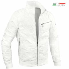 VIOLA rumore ヴィオラ ビオラ キルティング ジャケット メンズ スタンドカラー アウター 軽量 ダイヤ柄 無地 中綿(ホワイト白) 11140