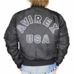 [送料無料]AVIREX MA-1 フライトジャケット コマーシャルロゴ [ ブラック / Mサイズ ][6132079009m]