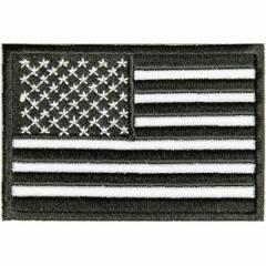 ミリタリーパッチ 星条旗 ブラック アイロンシート付[p3270]