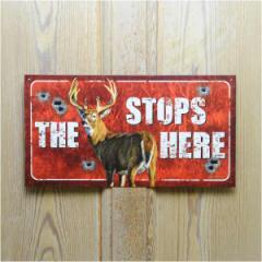 ブリキ看板 THE STOPS HERE[tsn1919]