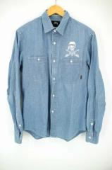 ステューシー STUSSY シャンブレーシャツ サイズmedium メンズ 【中古】【ブランド古着バズストア】