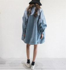 デニムコート ジャケット レディース ジージャン Gジャン ストレッチ 大きいサイズ  ロング丈 夏 韓国 ファッション プチプラ