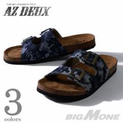 【大きいサイズ】【メンズ】AZ DEUX デニム2ストラップサンダル 491-160301