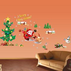 ウォールステッカー:サンタさんとクリスマスツリー ゆうメール送料無料 AY17