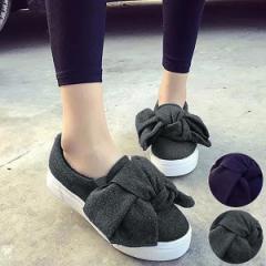シューズ レディース 靴 厚底 スリッポン スニーカー リボン 【bo-395】 *a SALE