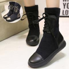 シューズ レディース 靴 スウェット切替 レースアップ ブーツ ショート丈 【bo-398】 *a