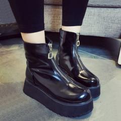 シューズ レディース 靴 ブーツ ミドル ショート 厚底 ジップ (bo-407) *a