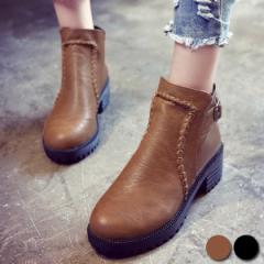 シューズ レディース 靴 ブーツ ショート ステッチ ベルト(送料無料) (bo-419) *a SALE