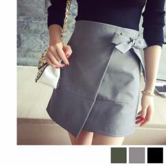 レディース スカート ミニスカート 巻きスカート ラップスカート リボン キレイ目 黒 グレー カーキ