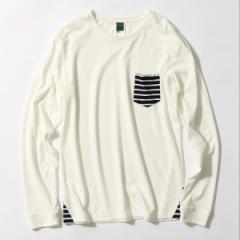 ベース ステーション(メンズ)(BASE STATION Mens)/【ユニセックス】ポケットボーダー ロングスリーブT−シャツ
