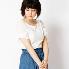 二コルホワイト(NICOLE white)/袖リボン付き異素材コンビTシャツ