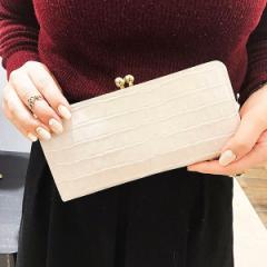 アンメートルキャレ(1meter carre)/【日本製】がま口財布 クロコ型押しパール加工 / エクルーガレリア