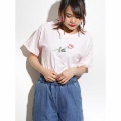 ウィゴー(レディース)(WEGO)/ウィゴー(WEGO/ローズモチーフ刺繍Tシャツ)