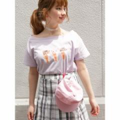 ウィゴー(レディース)(WEGO)/ウィゴー(WEGO/にゃんスクリームオフショルTシャツ)