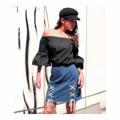 アナップ(ANAP)/Wレースアップデザイン台形スカート