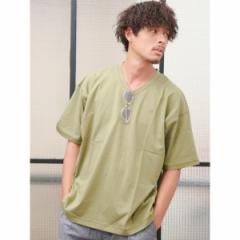ジョルダーノ(メンズ)(GIORDANO)/ジョルダーノ(【秋の新作】【オーバーサイズ】ライオン刺繍VネックTEE)