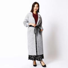 二コルホワイト(NICOLE white)/合皮ベルト付きロング丈コート