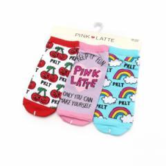 ピンク ラテ(PINK latte)/デザインソックス3足セット