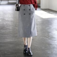 コーエン(レディース)(coen)/【手洗いできる】ウォッシャブルウールヘリンボーンラップスカート